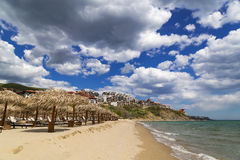 Beach of resort Saint Vlas at the Bulgarian Black Sea coast Royalty Free Stock Photography