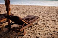 Beach resort with sunbeds Royalty Free Stock Photos