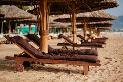 Beach resort with sunbeds Stock Image