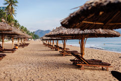 Beach resort with sunbeds Stock Photos
