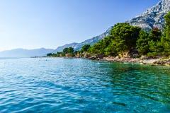 Baska Pole beach, Croatia. Beach in the resort town of Baska Pole, Makarska Riviera, Croatia royalty free stock photography