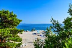 Baska Voda beach, Croatia. Beach in the resort town of Baska Voda, Makarska Riviera, Croatia royalty free stock photography