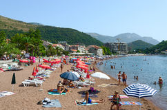 Beach in resort town of Petrovac, Montenegro Stock Images