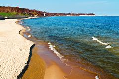 Beach in the resort town of Pionersky. Kaliningrad region, Russia Royalty Free Stock Photo
