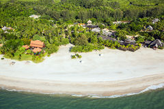 Beach Resort at Tropical Island Paradise Aerial View Royalty Free Stock Image