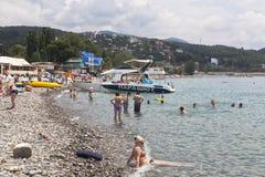 Beach in the resort village Lazarevskoye, Sochi, Krasnodar region, Russia Royalty Free Stock Photos