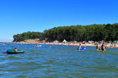 Beach rest on the Baltic Sea in July. Kulikovo, Kaliningrad region, Russia Royalty Free Stock Image