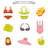 Beach rest color flat icons for web and mobile design Royalty Free Stock Photo