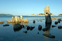 Beach, rest, freedom. Stones at coast of the Japanese sea Royalty Free Stock Images