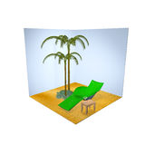 Beach rest icon on white background. 3D beach icon isolated over white Stock Photography