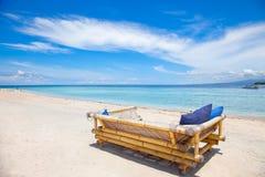 Beach rest pavilion in Gili island. Trawangan, Indonesia Stock Image