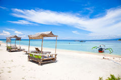Beach rest pavilion in Gili island, Trawangan. Indonesia Royalty Free Stock Photos