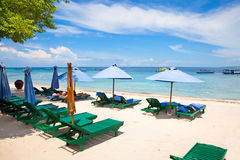 Beach rest pavilion in Gili island, Trawangan. Indonesia Royalty Free Stock Photo