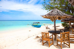 Beach rest pavillion in Gili islands. Meno, Indonesia Royalty Free Stock Photography