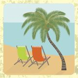 Beach rest under a palm tree. Vector illustration EPS10. Chaise lounges under a palm tree on the sea coast Royalty Free Stock Image