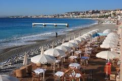 Beach restaurant. At Nice, French Riviera royalty free stock photos