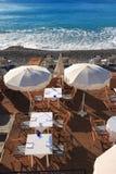 Beach restaurant. At Nice, French Riviera stock photos