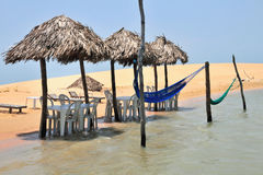 Beach restaurant. Restaurant at lake with with a net bed Stock Image
