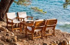 Beach restaurant Croatia. View of beach restaurant in Makarska resort royalty free stock image