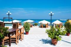 Beach restaurant. Empty beach restaurant at Thassos island stock images