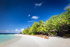 Beach restaurant on a small island resort in Maldives, Indian Ocean. Stock Image