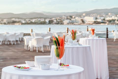 Beach restaurant. Table setting at beach restaurant Stock Photography