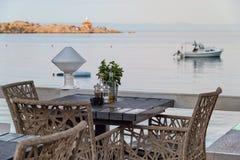 Beach restaurant table setting Croatia Royalty Free Stock Photography