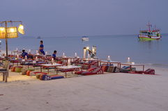 Beach restaurant on tropical island Stock Images