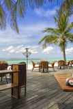 Beach restaurant of a tropical resort Royalty Free Stock Photo