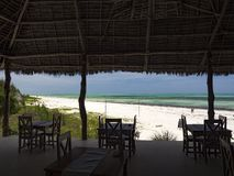 Beach restaurant and view to the sea, Paje, Zanzibar stock photos