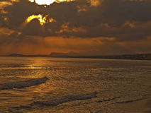 Beach of Rethymno in the early morning Stock Photography