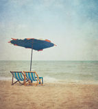 Beach in retro style Royalty Free Stock Photo