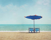 Beach in retro style Stock Images