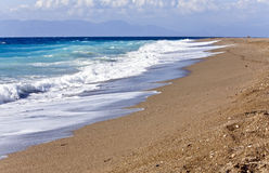 Beach at Rhodes island in Greece. At summer time Royalty Free Stock Image
