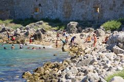 Beach on Rhodes island, Greece royalty free stock photo