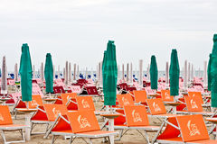 Beach in Rimini in cold day. Italy. royalty free stock images