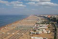 Beach Rimini Italy aerial view summer. Season royalty free stock photos