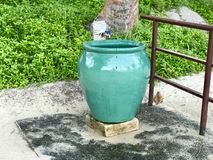Beach Rinse Shower Station with green pot. To save water Stock Images