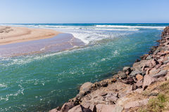 Beach River Mouth Ocean Stock Image