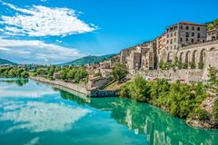 Beach river. Southern France along the mediterranean coast historic towns and forts line the road royalty free stock photos