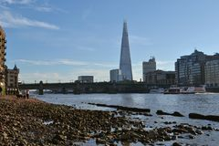 Beach River Thames Shard London Royalty Free Stock Images