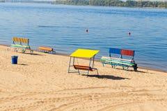 Beach of the river Volga in Samara Stock Photos