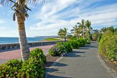 Beach road along ocean Stock Photo