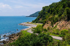Beach road. The romantic road beside the sea in Thailand stock images