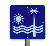 Beach road sign, clipping path. Royalty Free Stock Image