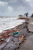 Beach Road slide along the beach to water erosion. Because storm royalty free stock photo