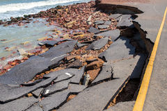 Beach Road slide along the beach to water erosion. Because storm royalty free stock images
