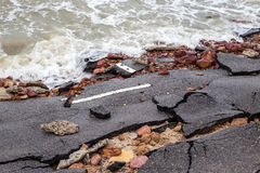Beach Road slide along the beach to water erosion royalty free stock images
