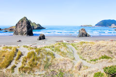 Beach and Rock Formation at Redwood National Park Stock Photos