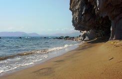 Beach with rock on island Zakynthos Stock Photography